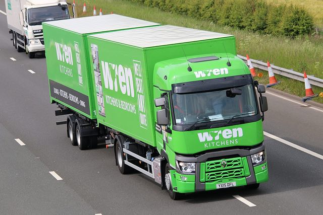 picture of a wren kitchens and bedrooms lorry